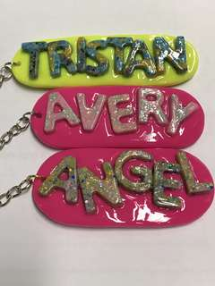 Handmade personalised name tags, keychains, key rings.