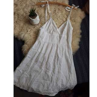 White Embroidered Dress Backless