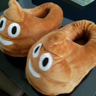 Emoji poop plush bedroom slippers