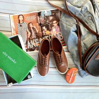 Brown Leather Sneakers (w/ free instant shine sponge cleaner)