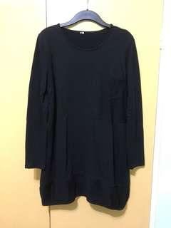黑色闊身長T-shirt