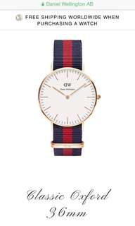 全新DW Daniel Wellington Classic Oxford 36mm Watch