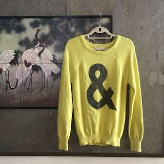 Forever 21 Yellow '&' Pullover Sweater