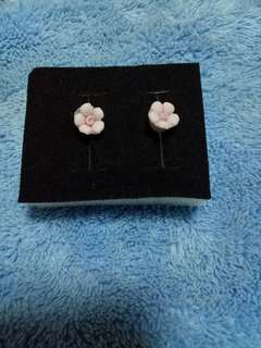 Pink flower Ear Studs hand made