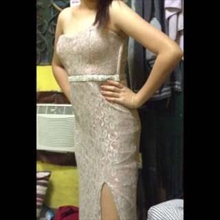 ash pink long gown for rent
