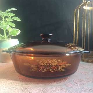 Vintage Anchor Hocking Amber Glass Casserole