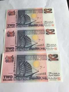 Spore Ship Series Purple $2 notes with fancy nos