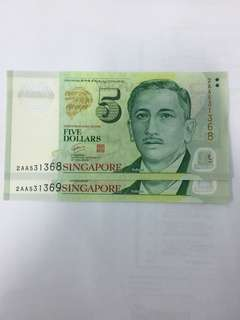 Singapore Portrait Series $5 Dollars Banknote GCT Polymer Running Number (2 Runs)