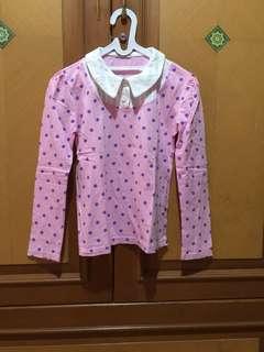 #MakinTebel Preloved Kaos pink polkadot ungu