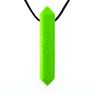 Quell-O Gravity Stone Chewable Sensory Teether Necklace for Soft, Mild Chewers - Tough, Green