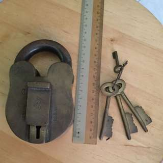 Vintage Brass Gate Lock