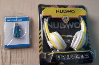 HeadPhones with Noise Cancellation and Sound Card