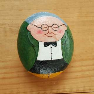 Individually acrylic hand painted on large pebble.  Calm and like-able Mr Happy.