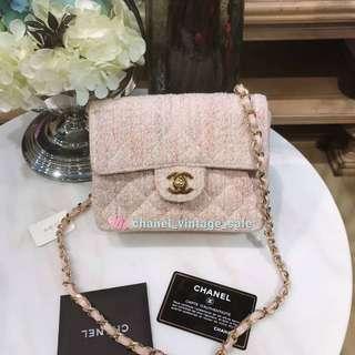 Chanel classic mini 17cm 粉紅色毛毛經典款
