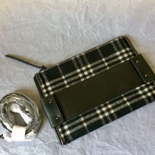 Authentic Charles & Keith Plaid Clutch with Shoulder Strap