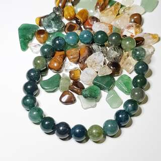 ATTRACT WEALTH!!! Every piece is different! 8.5mm Moss Agate Bracelet 青苔玛瑙水晶手链