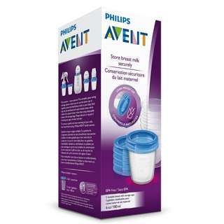 BN Philips AVENT Storage Food/ Breastmilk Cups x 5 pcs