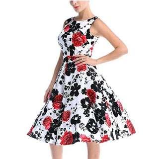 Vintage 1950 style Rockabilly Swing Foral dress
