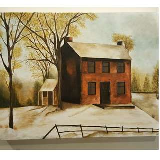 Individually acrylic hand painted on canvas.  Red Brick House in a country setting.