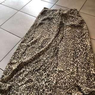 Leopard print beach maxi skirt