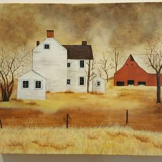 Individually acrylic hand painted on canvas.  White country house with large red barn.