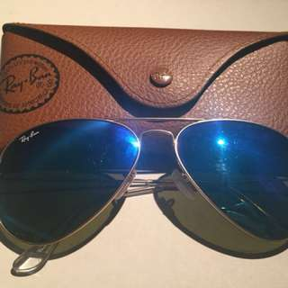Ray-Ban Gold Blue Aviator Flash Lenses Authentic