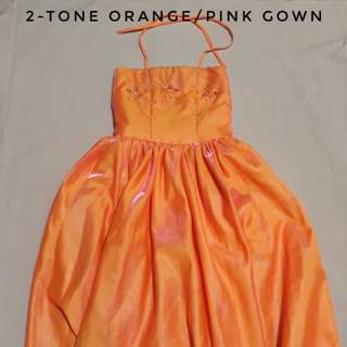 Two Tone Orange Pink Gown