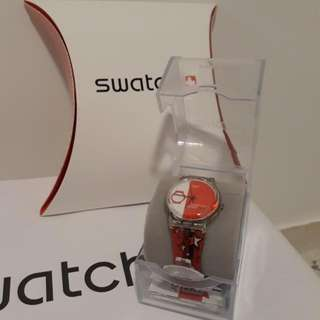 BRAND NEW Swatch Watch In Red And White