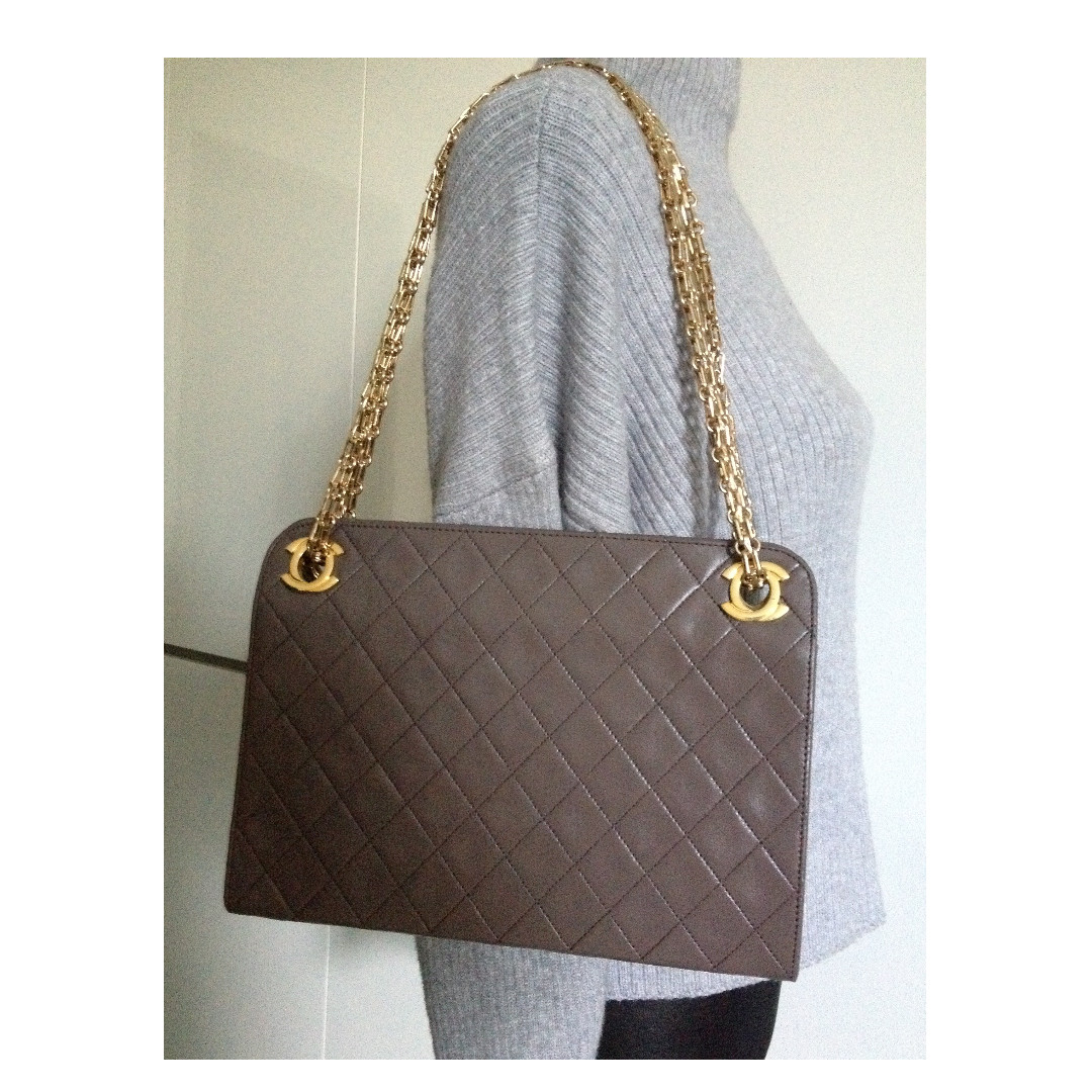 100% CLASSIC CHANEL Taupe Brown Lambskin CC Single Double Chain Gold Chain Bag