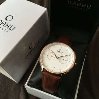 Obaku 全新 Ahorn Mahogany men's watch 男裝錶