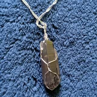 Raw Smokey Quartz Pendant with chain