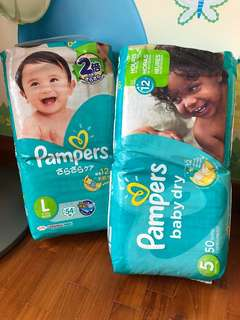 BN Pampers Size L & XL