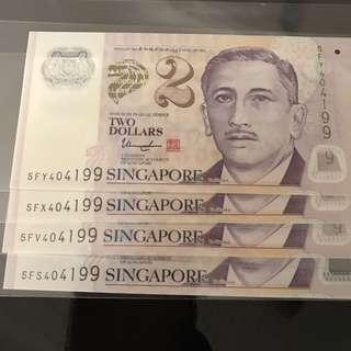$2 Banknote(4 same number)