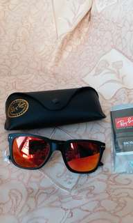 Original rayban RB 4323 black frame orange lens