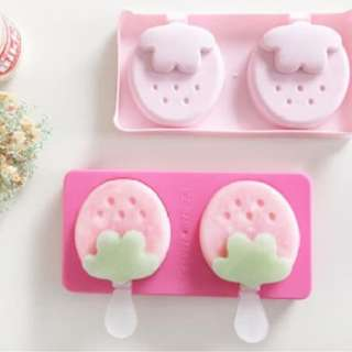 Cetakan Es krim Es loli lolipop Bentuk Strawberry Ice pop maker HPD069