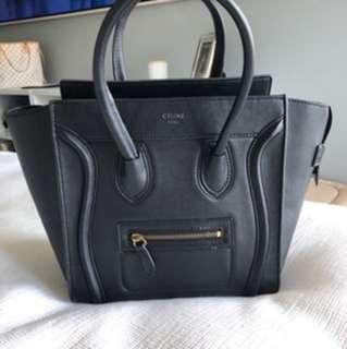 Celine Mini Luggage Bag in Black
