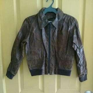 Charades distress leather jacket
