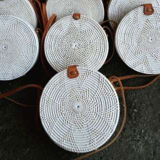 White Rattan Bag (Flora with Brown Details)