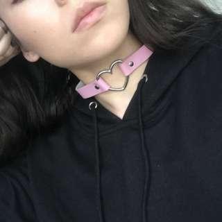 Heart Pink Choker/Collar