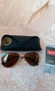 Original rayban RB 3025 aviator brown lens gold frame