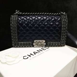 Chanel Boy Chain Around Navy Blue Medium