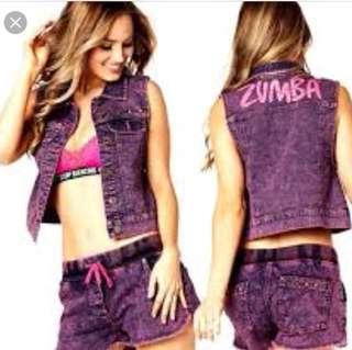 Authentic Zumba Wear Get Wild Denim Vest New