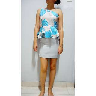 One shoulder Blue Flowery Dress