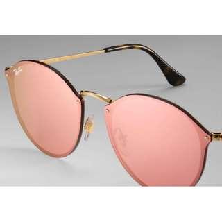[最後三副][平過開倉] Ray-Ban Blaze Pink Lenses 粉紅水銀鏡 Unisex 男女偕可 Sunglasses Rayban
