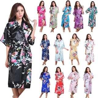 PREORDER! FREE postage silk kimono robe bathrobe women satin robe lounge fashion trend wedding attire night gown sexy lingerie bridesmaid summer winter