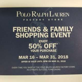 Polo Ralph Lauren 50% discount