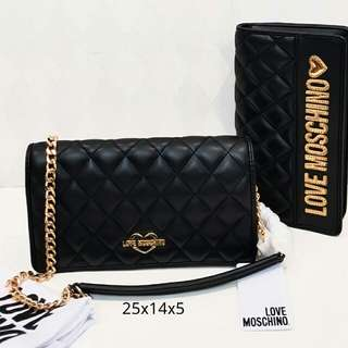 Moschino Quilted Clutch Black