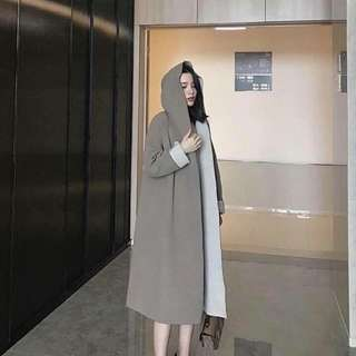 韓系大尺碼oversize 長版連帽長袖外套風衣長版懶人氣質文青綁腰個性大衣咖啡色灰色