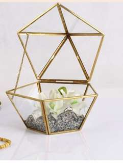 Pentagon Geometry Glass Jewelry Box Gold
