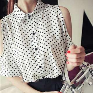 CLEARANCE SALE: BN Polka Dots Cold (Black/white) Shoulder Top